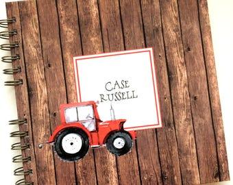 Baby Book    Baby Memory Album   Rustic Wooden Tractor Personalized Wire Bound Baby Memory Book Keepsake Album