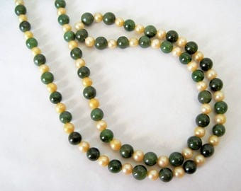 Jade Nephrite and Pearl Necklace - VintageJewelry -  Long Flapper Style - 60's Beads