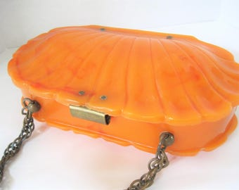 Wilardy  Lucite Shell  Purse - Tortoiseshell Swirl  Lucite - Signed Will Hardy - Made in USA