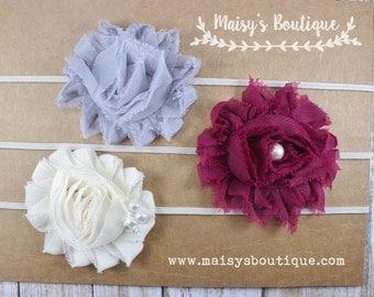 75% OFF Ready to Ship/ Set of Three Gray, Plum and Ivory Flower Headband/ Baby Headband/ Headband