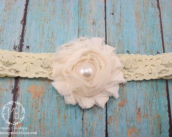 75% OFF Ready to Ship/ Ivory Lace Headband/ Baby Headband/ Flower Girl Headband/ Photo Prop