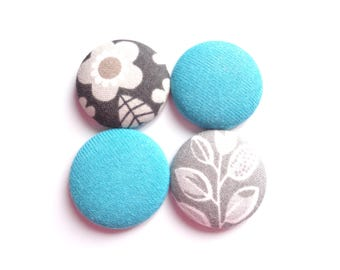 Turquoise Magnets, Gray Magnets, Flower Magnets, Leaf Magnets, Fridge Magnets, Magnetic Board Magnets, Gift for Her, Gift for Student