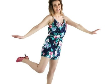 40%OFFSALE 80s Does 50s Romper / Playsuit / Pin Up / Catalina / Swimsuit