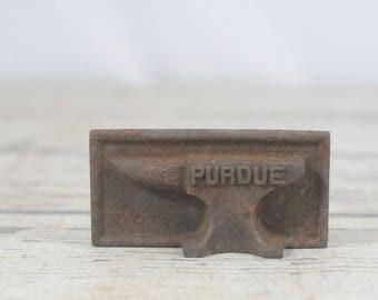 Vintage PURDUE Embossed Metal Anvil Paperweight Boilermaker Decor