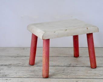 Stool Vintage Child's Stool Red and White Wood Stool Shabby Chic Chippy Paint Chair Step Stool