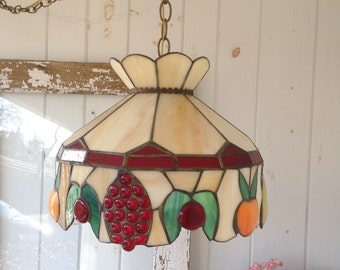 Tiffany Style Stained Glass Hanging Light Fixture with Fruit ~ Ceiling Chandelier