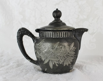 Antique Silverplate Creamer with Hinged Lid- Manhattan Silver Plate Co., 561- Quadruple Plated- Stippled leaf design- Aged Patina- Shabby