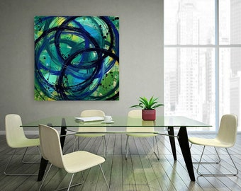 Art,Painting, Blue, Navy, Green, Acrylic,Abstract, Bright Abstract, Acrylic Painting Canvas Ora Birenbaum Titled: Dancing Rain 2 40x40x1.5""