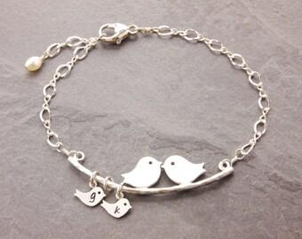 Love Birds Bracelet, 1-10 kids, mom bracelet, mothers day, family bracelet, bird family, mom and daughter, mother daughter, N1