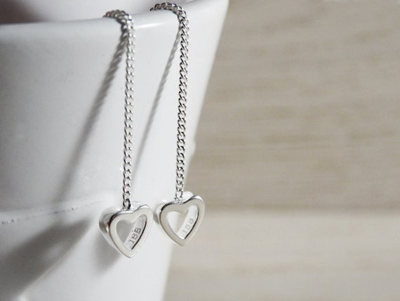 Silver Heart Threader Earrings - Sterling Silver