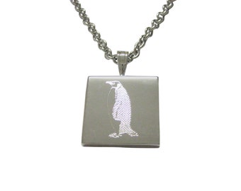 Silver Toned Etched Penguin Pendant Necklace