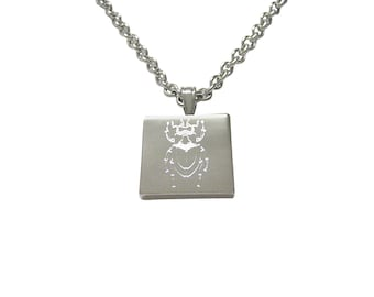 Silver Toned Etched Spiky Beetle Insect Pendant Necklace