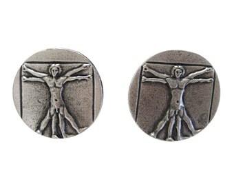 Silver Toned Leonardo Da Vinci Vitruvian Man Cufflinks
