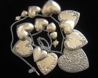 "PIDIDLY LINKS  Silver Heart Charm Statement Necklace with Stamped & Smooth Hearts from Over 2"" Graduated Down to 1/2"".  Vintage. 24.5"" Long"