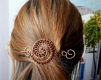 Circle Hair Clip Copper, Copper wire Hair Barrette Spiral- Hair Slide, Hair Pin, Metal, Gift for Her, Womens Gift, Wire Hair Jewelry