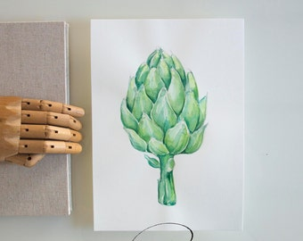 Original artichoke watercolor art painting, artichoke drawing, vegetable art, kitchen wall art, modern vegetable watercolor, gift for her