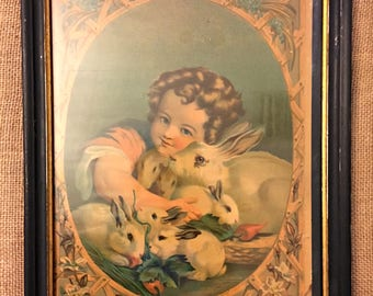 "Beautiful 1881 Rare Vintage Framed Print ""The Little Father"" by H. Hallett & Co., featuring Little Boy W/ Rabbits"