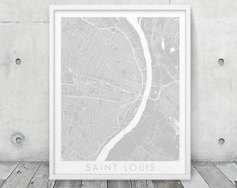 Saint Louis City Map Print. Saint Louis Urban Street Map Poster. Grey St. Louis Missouri Map Print. Geometric Map Art Decor. Printable Art