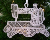 Lace Ornament - Sewing Machine Lace Christmas Ornament - Gift for Seamstress, Sewing Enthusiast, Quilter - Large Free Standing Lace Ornament