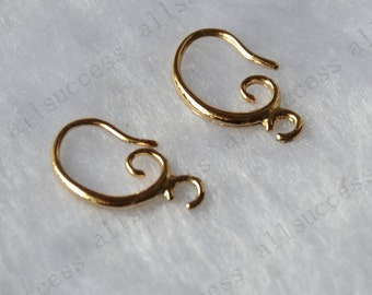 4pcs (2pairs) New style 24k  Gold plated  brass Fish Hook Ear Wires,leverback earwire,earrings findings,earwire findings