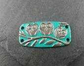 Three owls silver tone bracelet bar/connector hand painted in turquoise patina