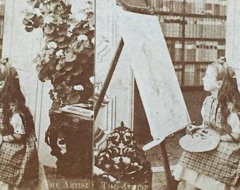Original Antique Stereoview Photograph The Little Artist
