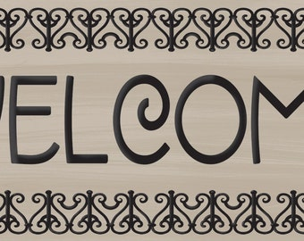 Welcome Sign, Craftsman Style Welcome, Arts and Crafts Welcome, Wrought Iron Border Welcome, two sizes available