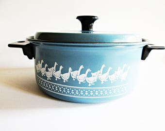 Small Vintage Blue and White Pot with Cute Ducks and Lid, Rustic Cottage Farmhouse Home Decor