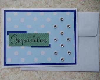 Congratulations - blues dots rhinestones