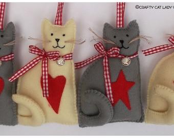 Cat Ornament, cat decor, felt cat, handmade cat, catlady, cat gift, gift for her, cat decoration, hanging ornament, felt ornaments