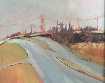 ORIGINAL Oil Painting-Urban Landscape-Plein Air-Impressionist Art-Modern decor-Expressive-Affordable wall art-Contemporary-Industrial art