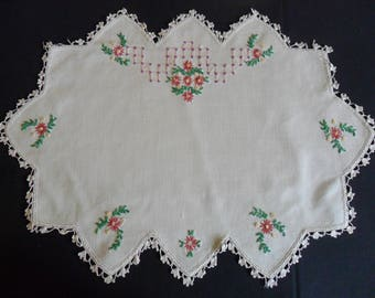 """Vintage Dresser Scarves, 1 @ 21"""" X 15"""", 1 @ 12"""" X 10""""  hand embroidered  with hand crocheted lace edging"""