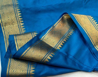 Medium Blue and Gold Soft Silk Fabric - Gold Border Fabric - South Indian Silk Fabric - Wedding Costume Fabric - Evening Dress Fabric
