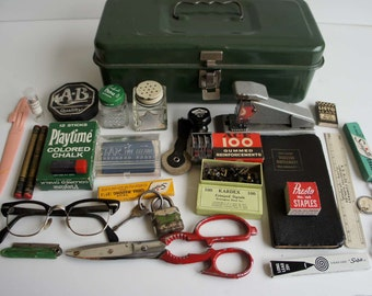 Vintage 1950s Office Supplies in Green Metal Box Instant Collection