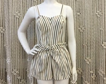 Amazing 1950's Cole of California brown striped playsuit/swimsuit