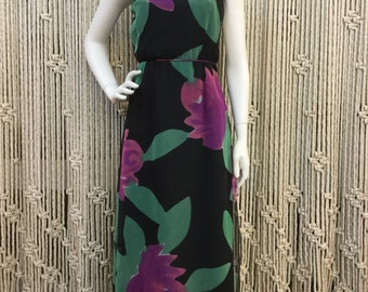 Beautiful 1970's black and floral designer Jill Richard's maxi dress