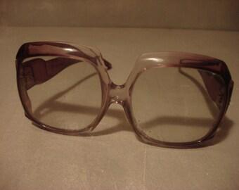 Vintage Large Frame Clear Glass Lilac Glasses Non Prescription