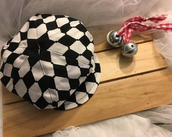 Black and white harlequin design newsboy hat, beret for boys, Great Gatsby hat, hats for boys,