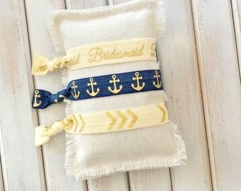 Bridesmaid Gift Hair Ties Bride Tribe Gold and Navy Anchors Nautical Gift under 10 Bridesmaid Hair Ties Tie the Knot