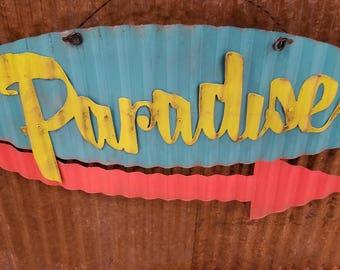 Paradise Mid-Century Retro Metal Sign