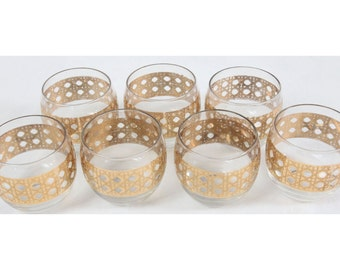 Culver Canella Lot (7) Roly Poly Gold Glasses Mid Century Modern