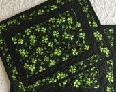 St. Patrick's Place Mats, Quilt, Green, Black, Clovers, Set of 2, Handmade Quilt