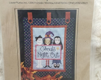 Lizzie & Kate Halloween Ghouls Night Out Cross Stitch Picture Pattern Witches 8 x 11""