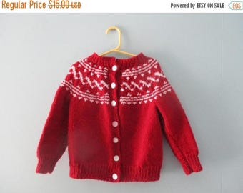 ON SALE Vintage handknit burgundy fair isle sweater / Hand knit in Newfoundland cardigan sweater / Nordic style knit jumper Size 3T to 4T