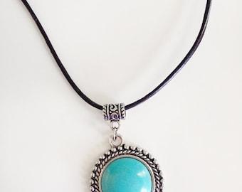 Black Leather Pendant Necklace, Turquoise Pendant, Turquoise Necklace, Magnesite Necklace