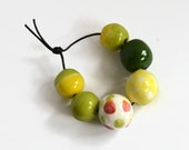 African beads, handmade African beads, green, yellow, red ceramic beads, pottery beads from Africa, clay beads, bead set, African