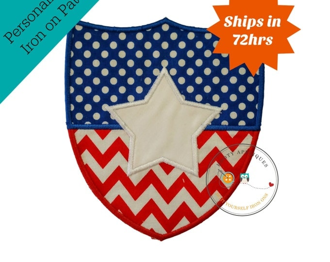 Over sized American shield iron on applique, embroidered fabric 4th of July patch, Red white and blue patriotic iron on applique