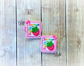 Hello Summer clip Strawberry hair clippie cutie Summer Clip  Pick one or two. Pick Left side or Right.