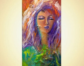 Original colorful woman portrait painting Devotion Acrylic Painting by Osnat 48""