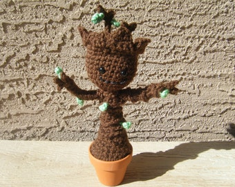 Crocheted Posable Baby Groot in Clay Pot